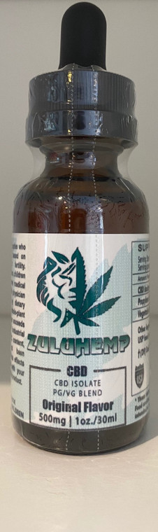 Zuluhemp 500mg CBD Isolate Vape Liquid  500mg of 99.7% pure CBD isolate in a 60/40 blend of Vegetable Glycerin and Propylene Glycol. Can be vaped directly or added to your favorite juice- compatible with all refillable vapor devices. Unflavored, 1oz./30mL Bottle, 16.67mg/mL