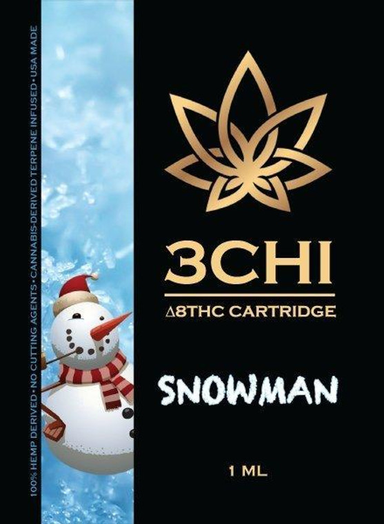 3Chi Delta 8 Vape Cartridge, Snowman, has is a Sativa strain with cerebral, creative, euphoria and is relaxing and uplifting. The flavor is described best asdiesel, herbal, spicy, sweet and vanilla. The best time to use this is suggested in the evening or nighttime. 3Chi's 1 ml Delta 8 THC vape cartridge is the most potent Delta 8 cartridge available, currently testing at over 950mg (95%+) of hemp-derived ∆8 THC and ~50mg of CBN, CBC, and strain-specific terpenes. Delta 8 THC typically gives an uplifting feel with a calming energy.