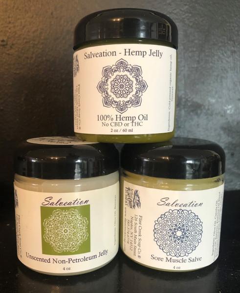 Salveation non-petroleum jelly, sore muscle salve, hemp salve