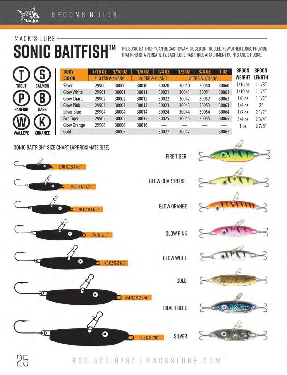 Macks Lure 30045 Sonic Baitfish Fire Tiger