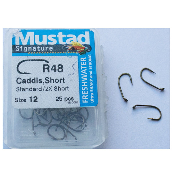 Mustad R48 Signature Dry/wet Caddis Short Fly Hook 25pk