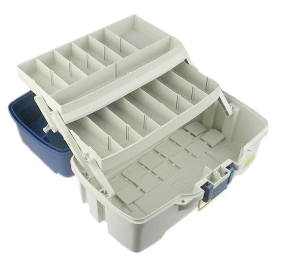 Plano Tackle Box 2 Tray Blue White Dual Top Access
