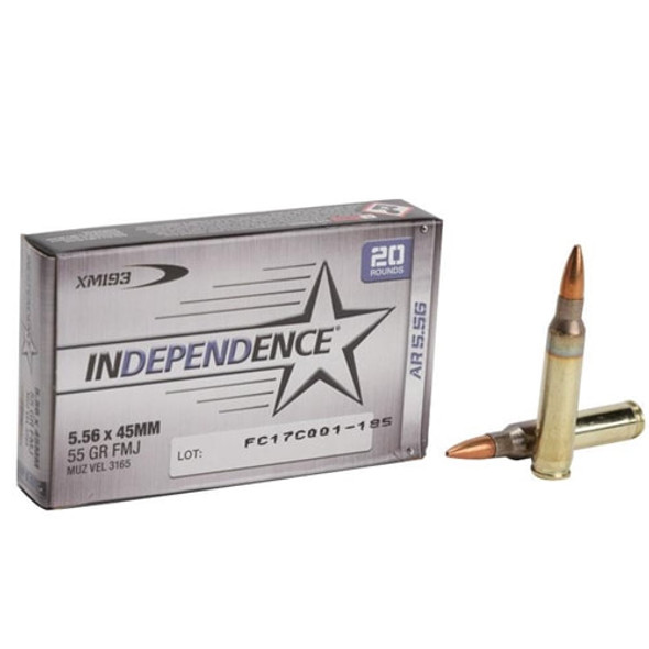 Federal 5.56x45 223 55gr FMJ Independence Box 20