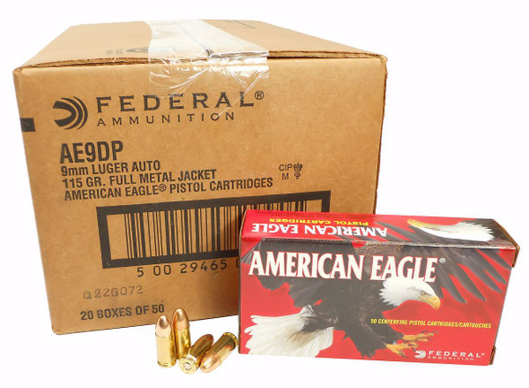 American Eagle 9mm 115gr FMJ Case 1000