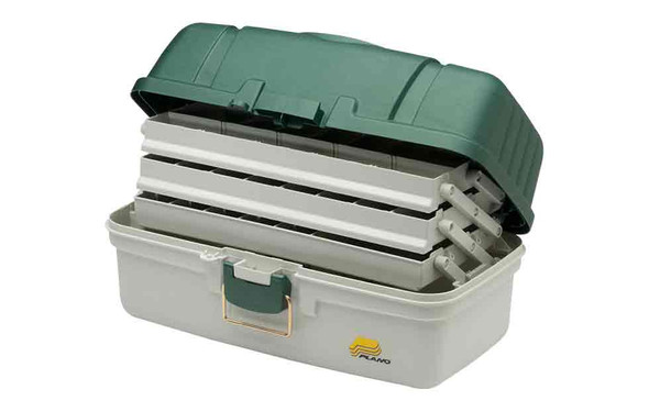 Plano Tackle Box 3 Tray Green White Top Access