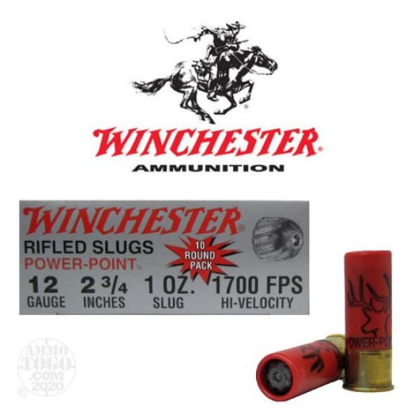 "Winchester 12ga 2-3/4"" 1oz Rifled Slug 1700fps Box 10"