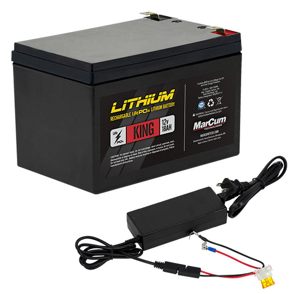 Marcum Lithium Battery King 12v/18ah LifePo4 Includes 6amp Charger
