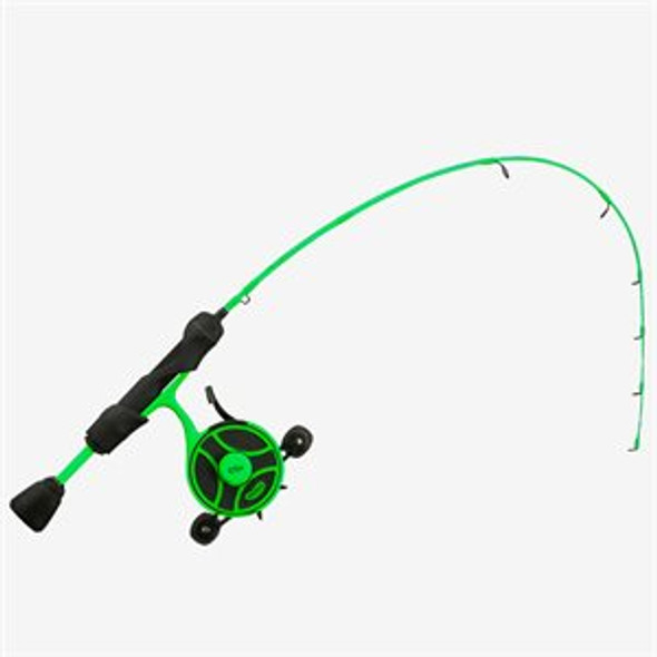 "13 Fishing Radioactive Pickle Ice Combo 27"" M - FF Ghost w/ NEW Line Window + Tickle Stick - Left Hand"