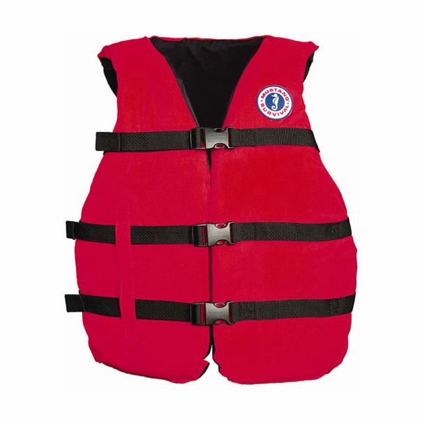 Mustang Universal Red 3 Buckle Adult PFD Vest