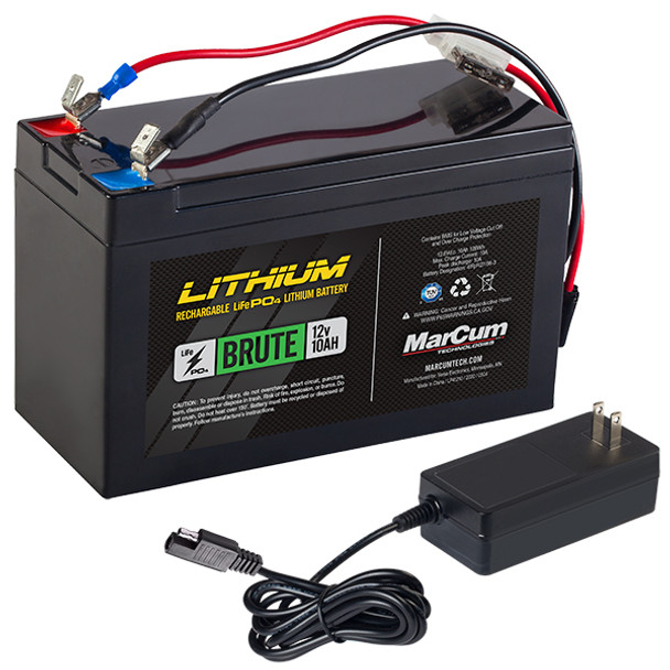Marcum Lithium Battery Brute 12v/10ah LifePo4 Includes 3amp Charger
