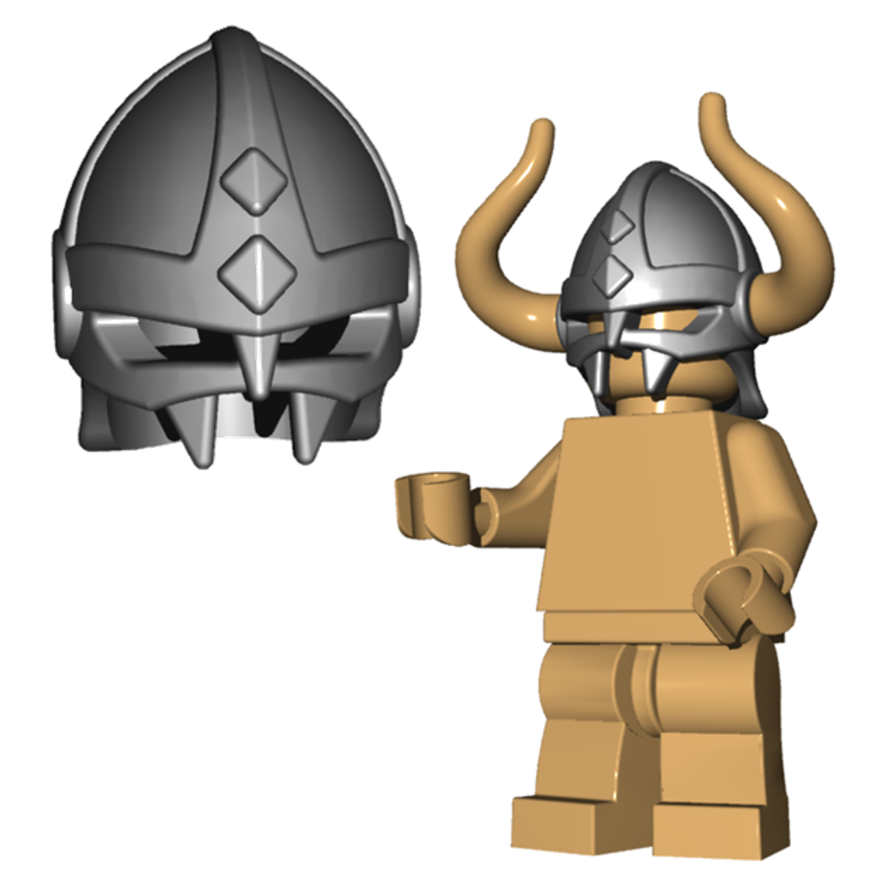Lego Viking Speckle-Silver Viking Helmet w// Side Holes NEW