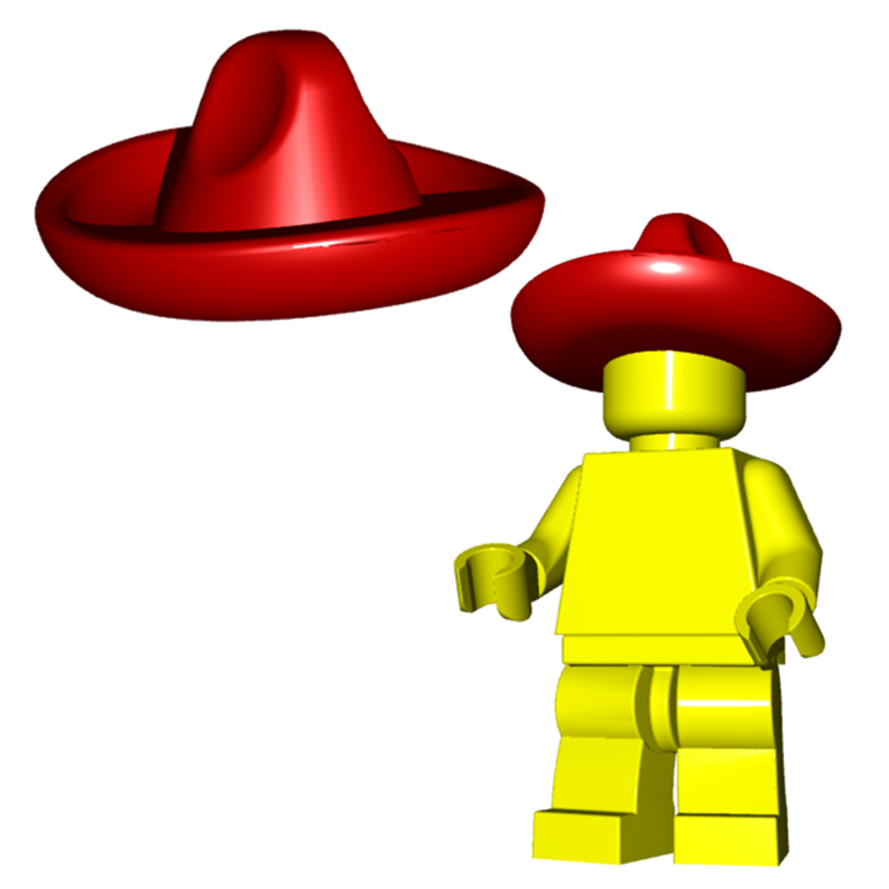 Lego Minifig Hat Mexican Sombrero Green New