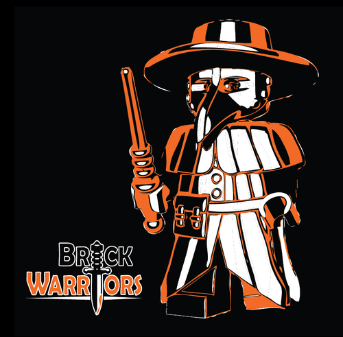 Black T-Shirt with Orange and White Printing