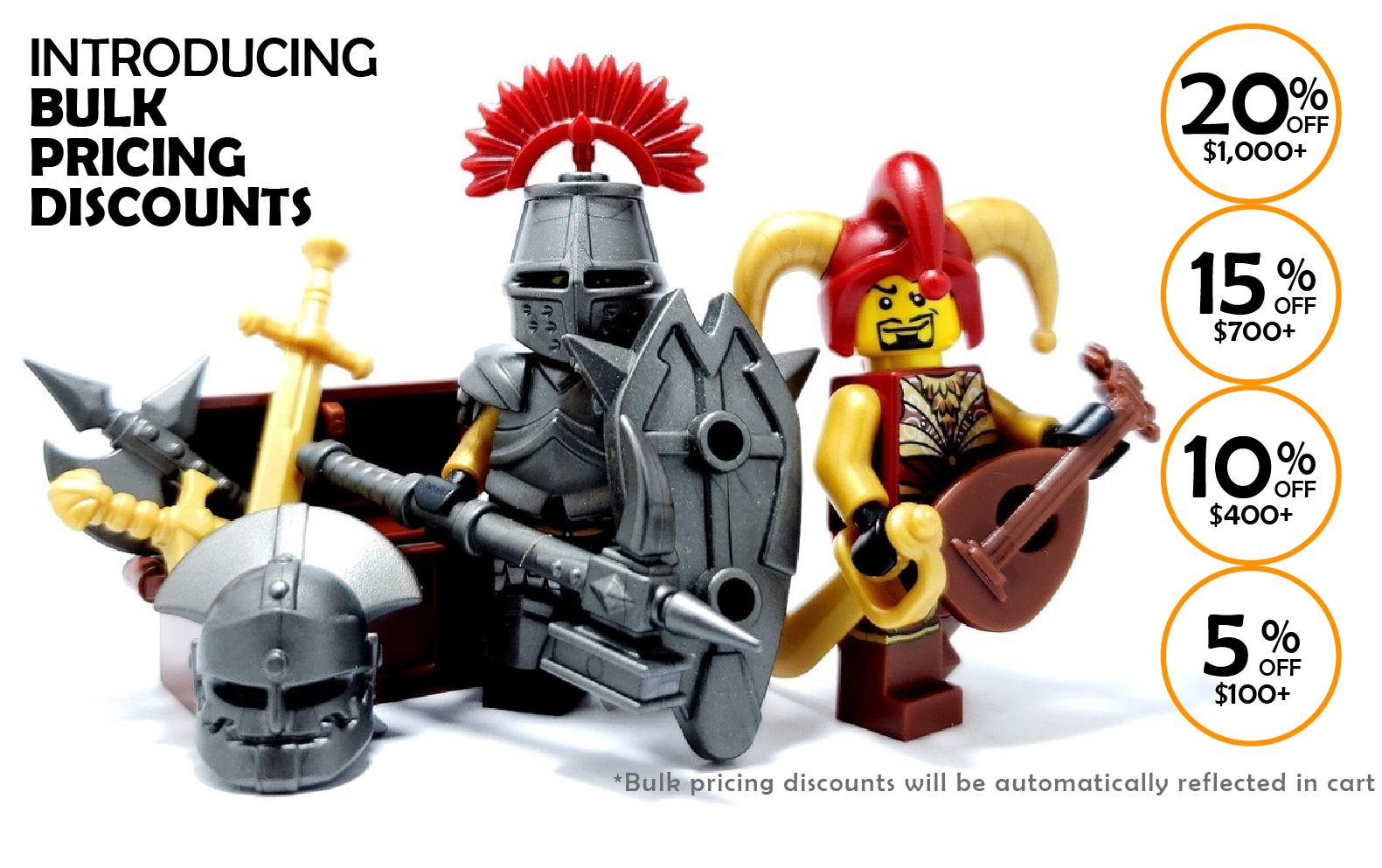 BrickWarriors - Minifigure Guns, Weapons, Helmets, Armor