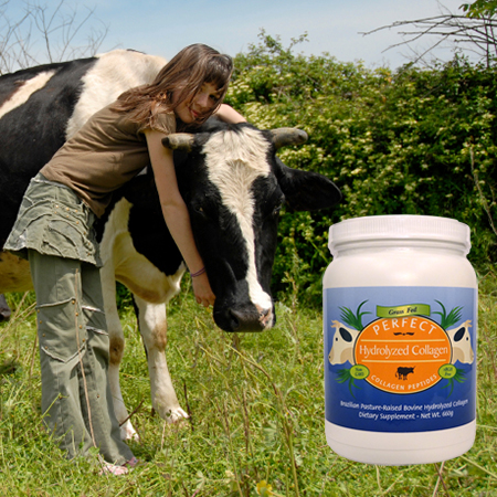 Girl hugging a cow in a grassy field with a bottle of Perfect Hydrolyzed Collagen.