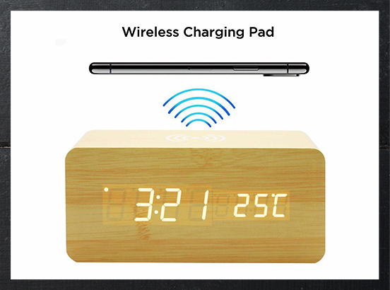 Wooden Alarm Clock Wireless Charger