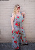 Red Floral Print Jumpsuit For Plus Size Women