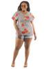 Women's Plus Size Stripe & Floral Ruffle Sleeve Top