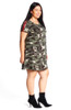 Affordable Plus Size Camo Varsity Stripe Swing Dress