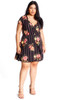 Plus Size Stripe Floral Cap Sleeve Wrap Dress - Casual Outfit