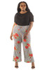 Plus Size Striped Floral Palazzo Pants