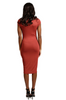 Cap Sleeve Lined Mock Neck Midi Dress
