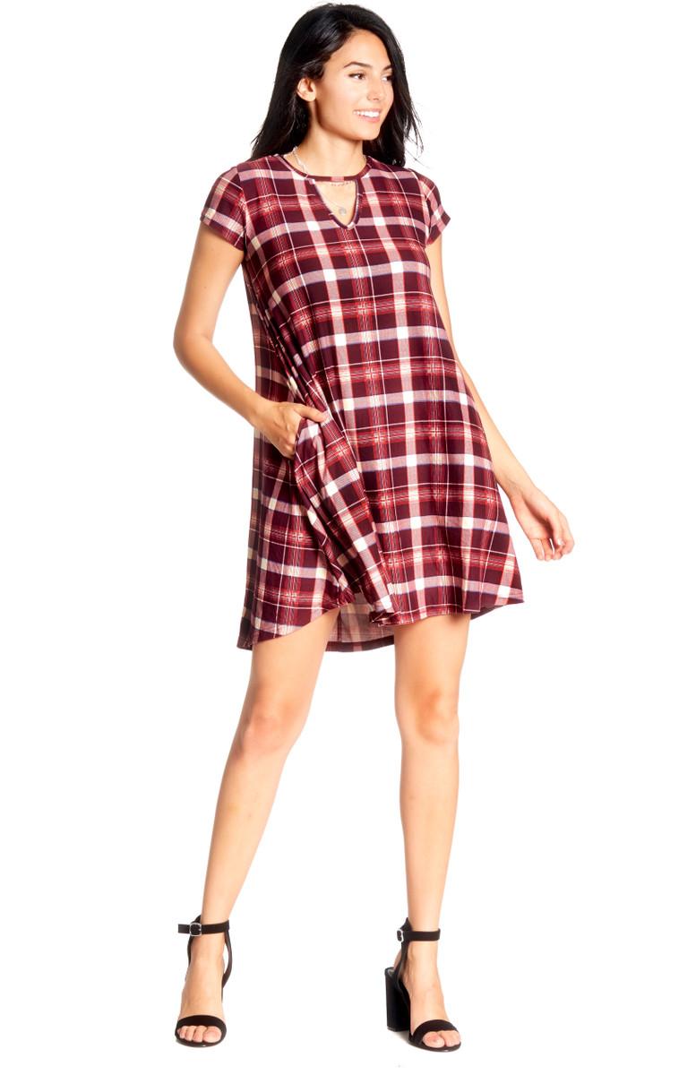 099692e5d470 Plaid Keyhole Swing Dress - VIBE Apparel Co.