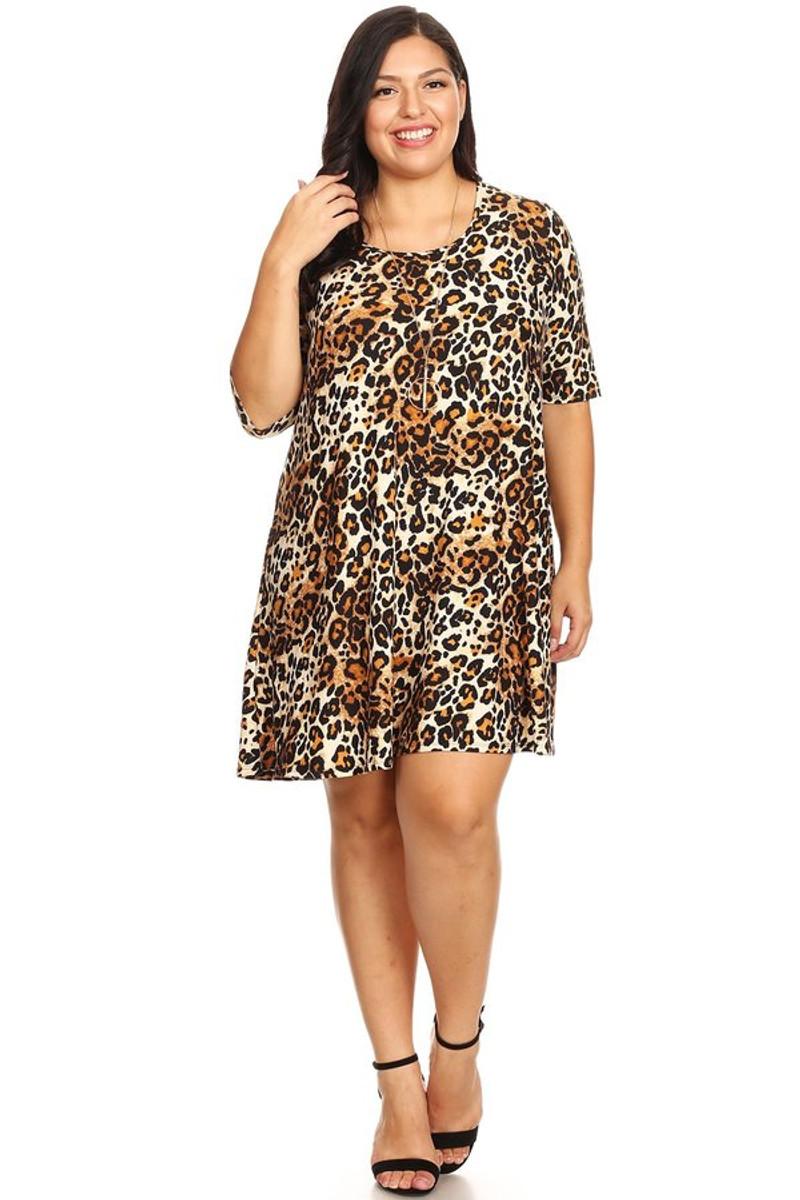 ddd8f0c1c0 Plus Animal Print Brushed Swing Dress - VIBE Apparel Co.