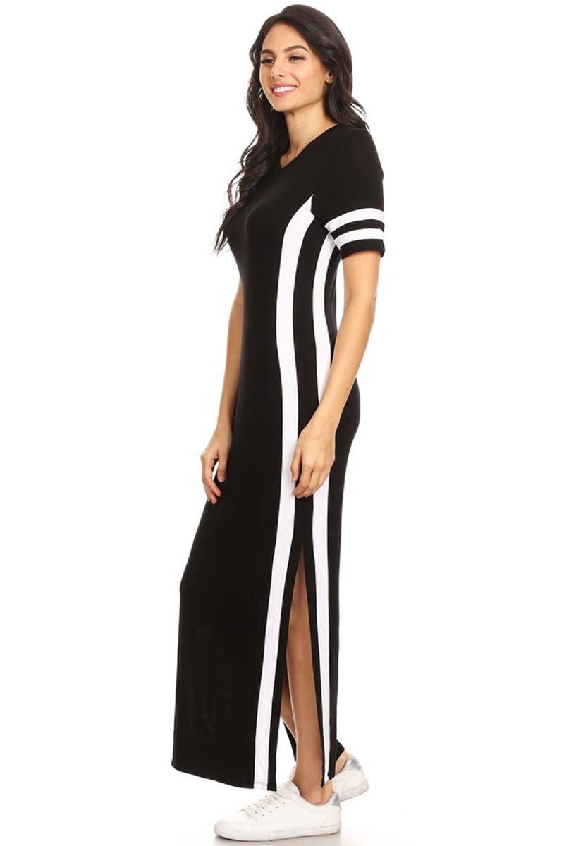 Varsity Stripe Side Split Maxi Dress Vibe Apparel Co