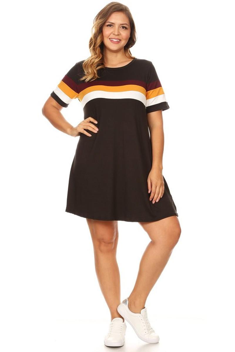 539bd5de4171 Plus Colorblock Swing Dress - VIBE Apparel Co.