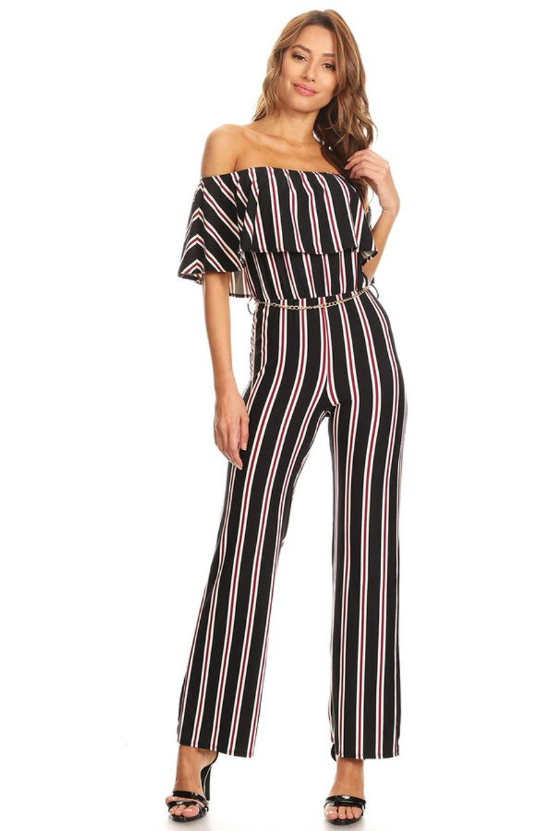 a36302014da Striped Knit Off The Shoulder Jumpsuit - VIBE Apparel Co.