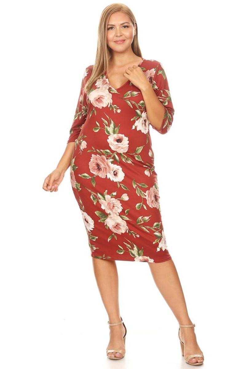 Plus Size Clubwear Elbow Sleeve Floral Midi Dress