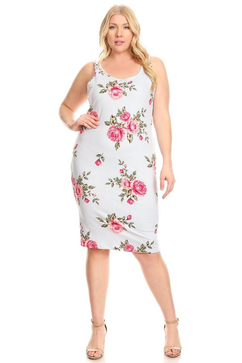 Plus Size Clubwear Tank Midi Dress