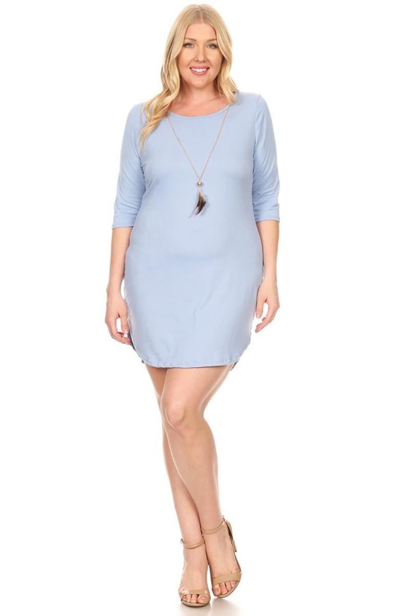 Plus Size Clubwear 3/4 Sleeve Bodycon Dress With Necklace