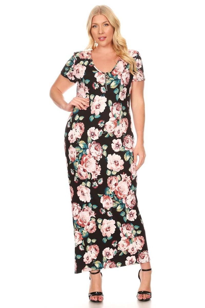 Plus Size Circle Zipper Maxi Dress
