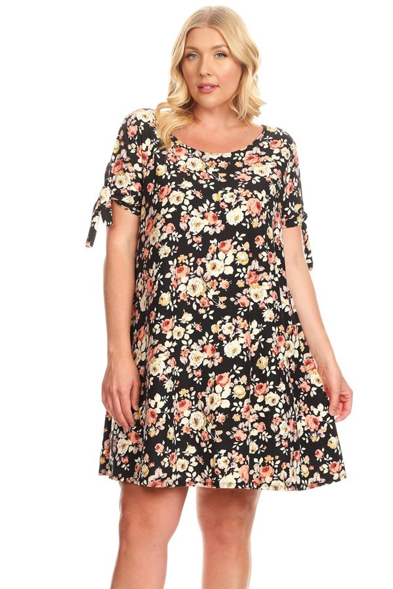 Affordable Plus Size Tie Sleeve Swing Dress