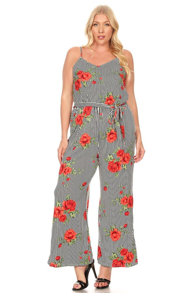 Stripped Floral Jumpsuit For Women