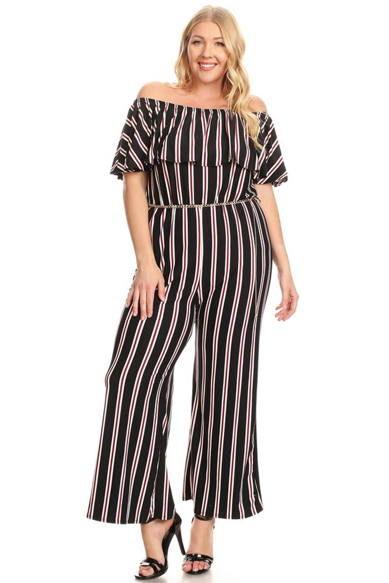 Off The Shoulder Striped Ruffle Jumpsuit
