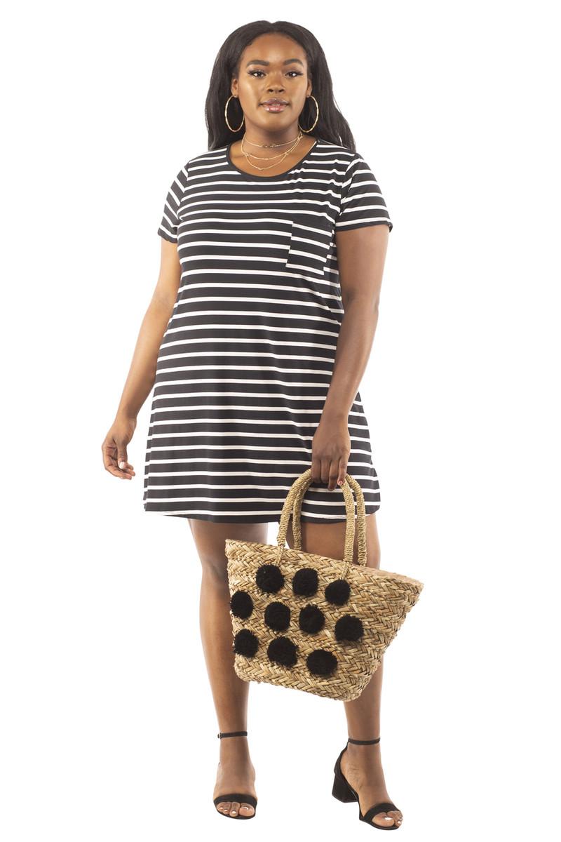 Affordable Plus Size Stripe Brushed Pocket Tee Shirt Dress