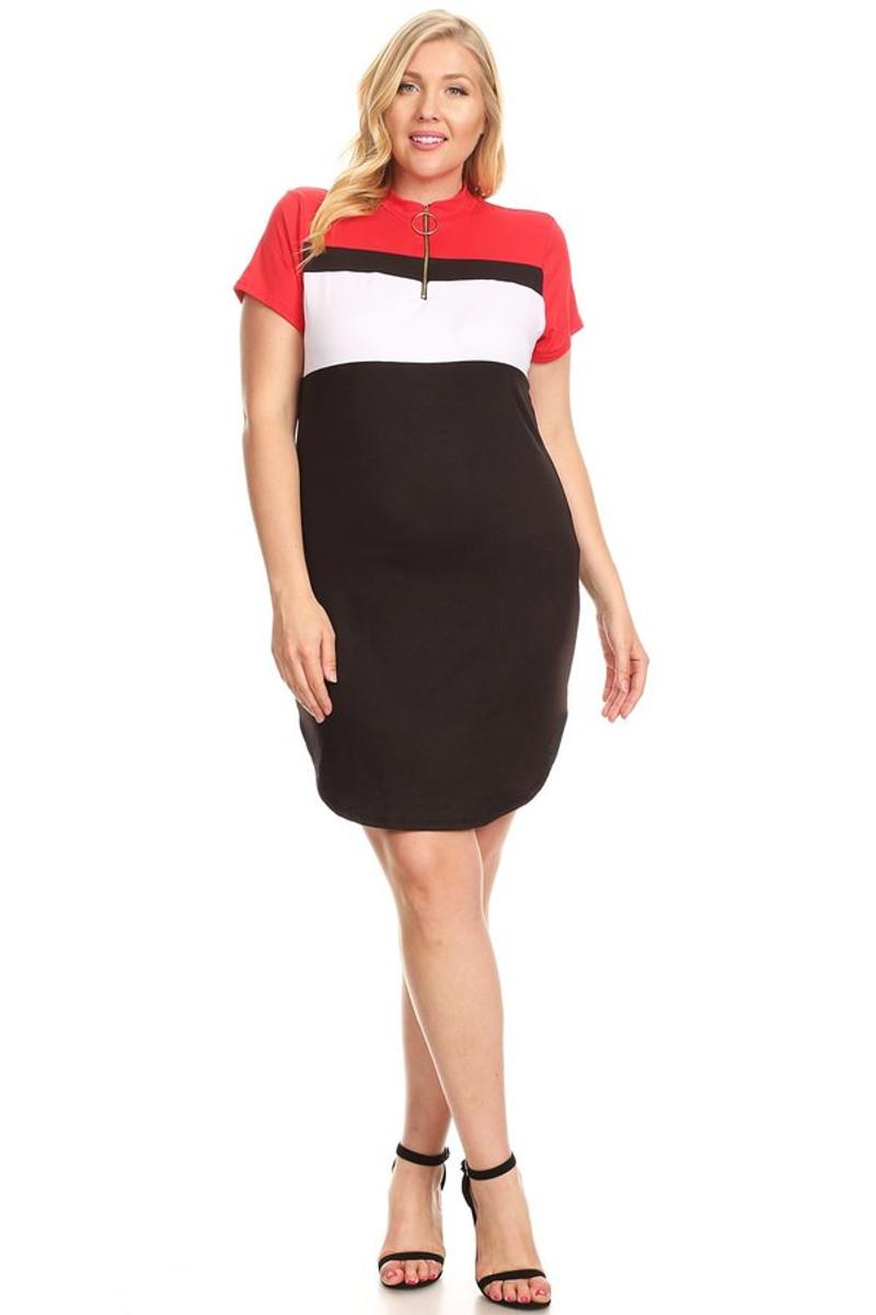 Plus Size Colorblock Zip Up Mini Dress - Casual Outfit