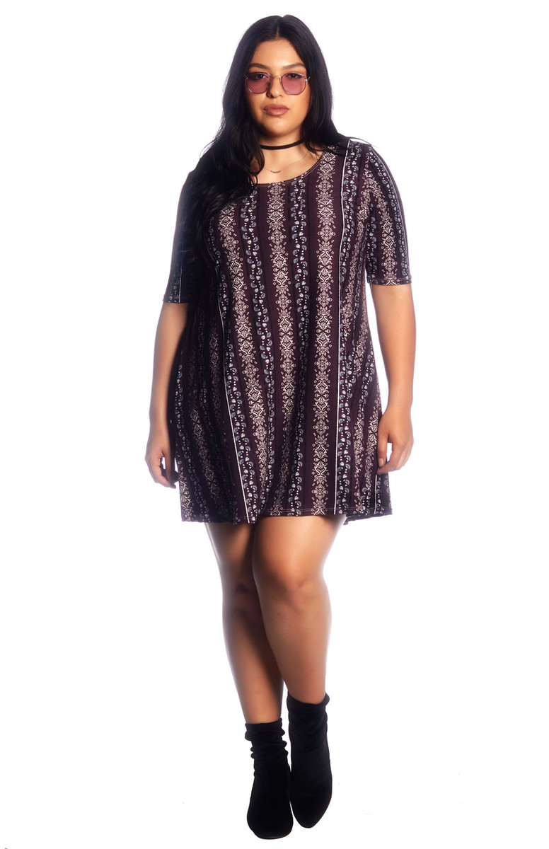 Affordable Plus Size Aztec Brushed Swing Dress