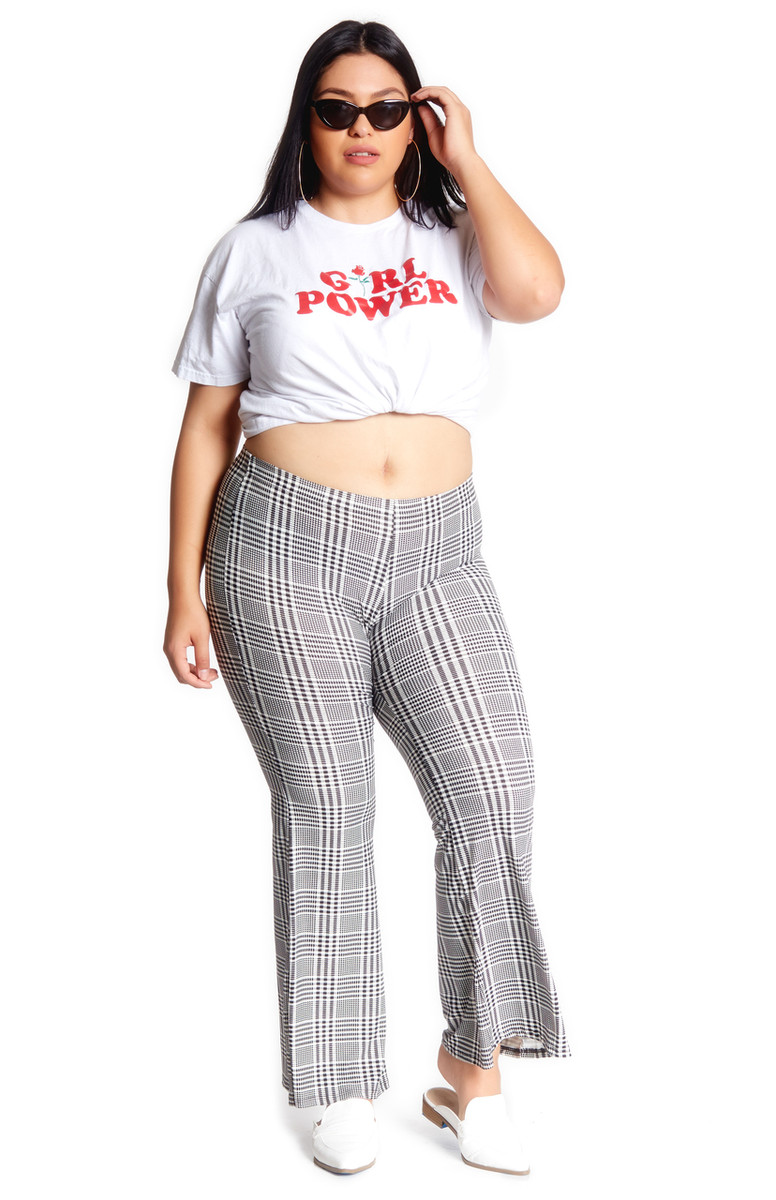Plus Size Plaid Bell Bottom Pant