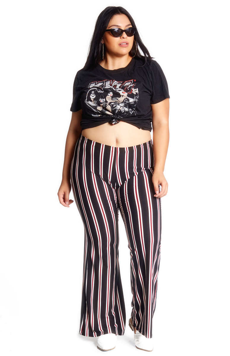 Plus Size Striped Bell Bottom Pant