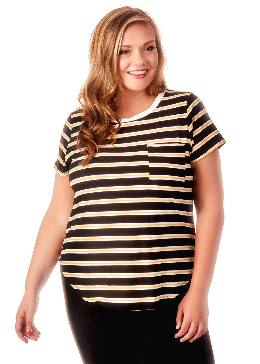 Women's Plus Size Striped Pocket Tee