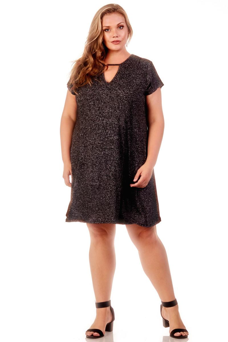 Plus Size Keyhole Knit Trapeze Dress - Casual Outfit