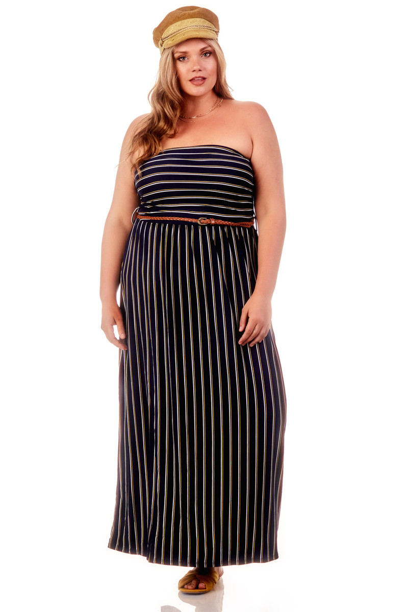 Affordable Plus Striped Ruched Belted Maxi Dress