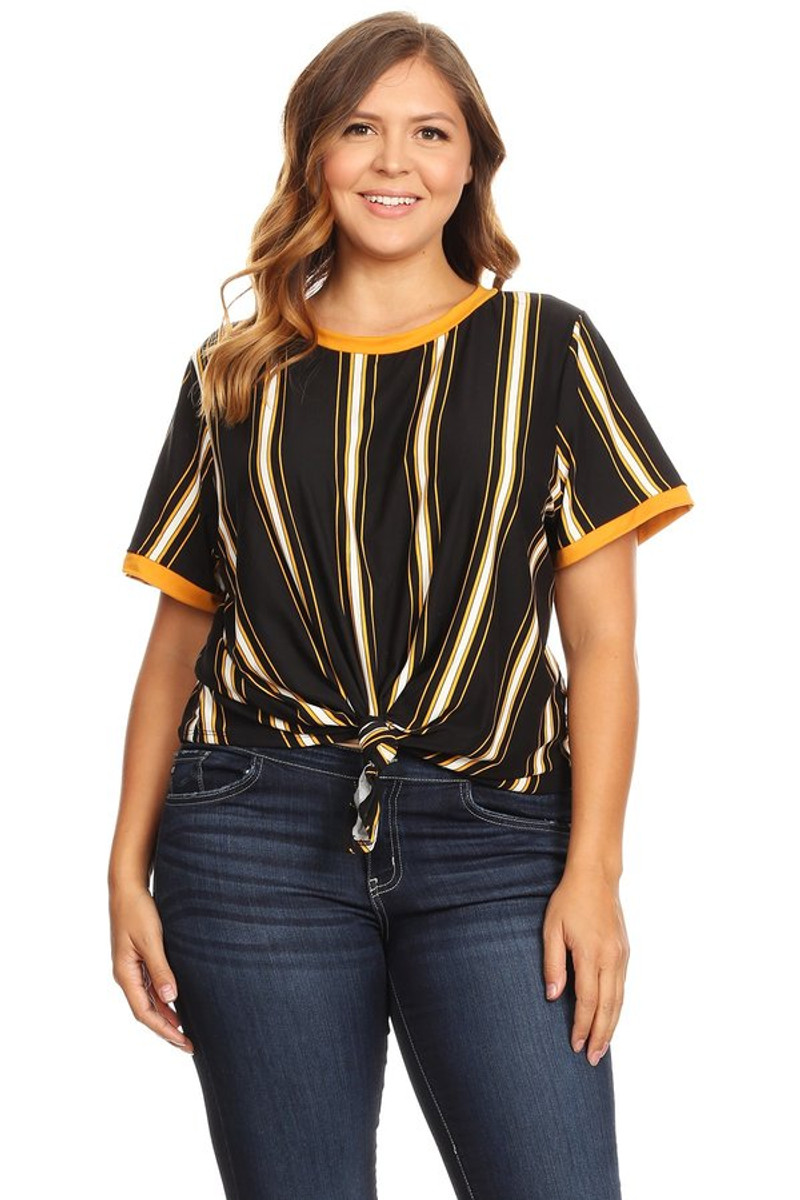 Women's Plus Size Knotted Striped Ringer Tee