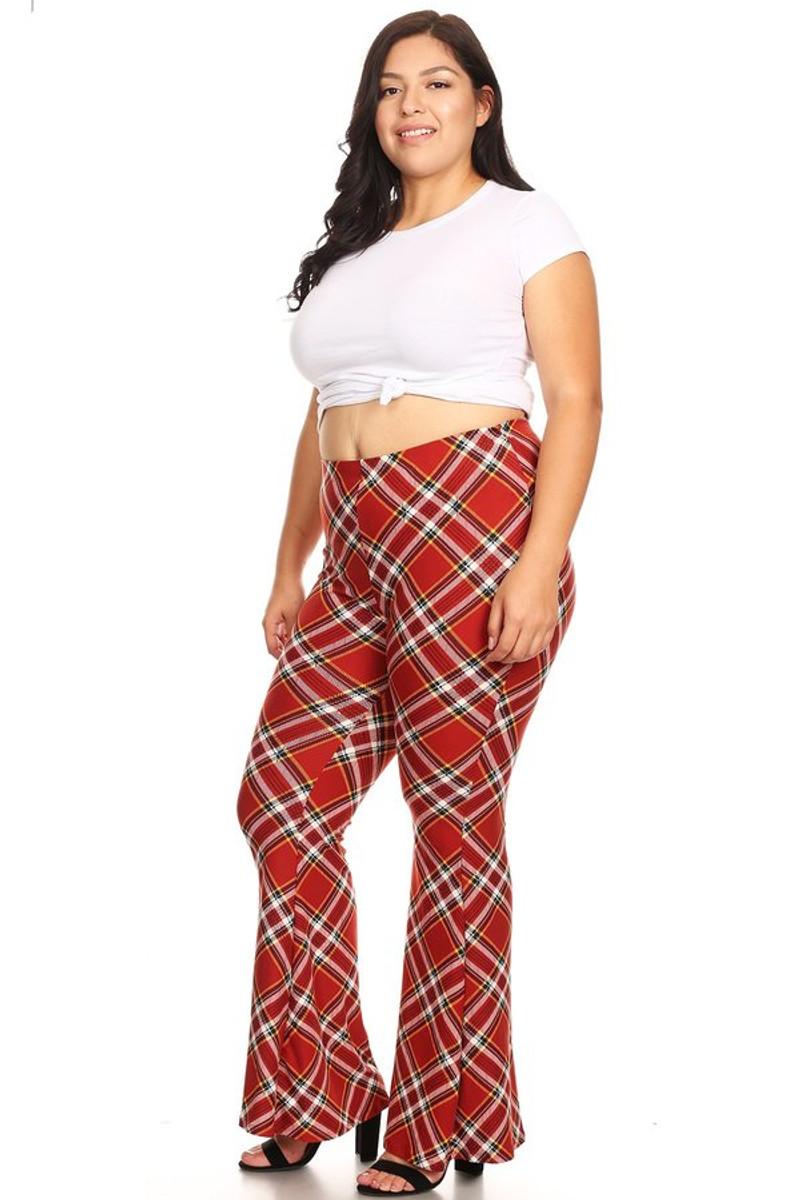 Plus Size Plaid Wide Leg High Waisted Flare Pant