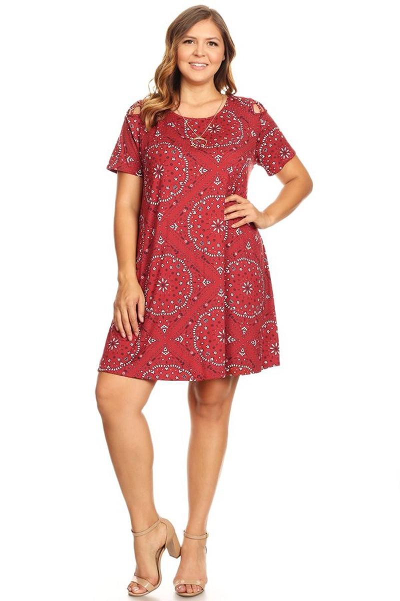 Plus Size Bandana Print Shoulder Caging Swing Dress for Summers