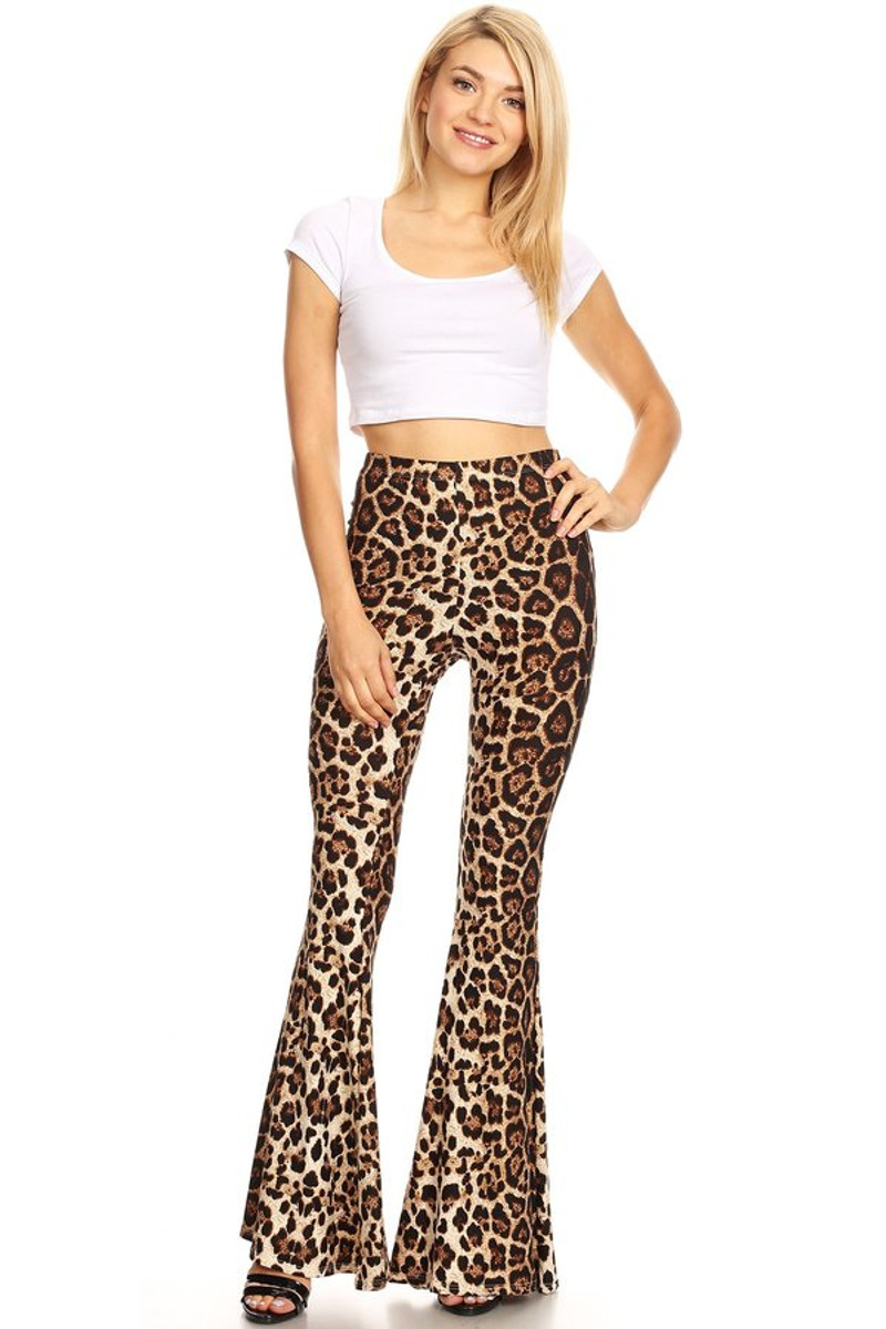 Women's Animal Print Wide Leg Fit and Flare Pant
